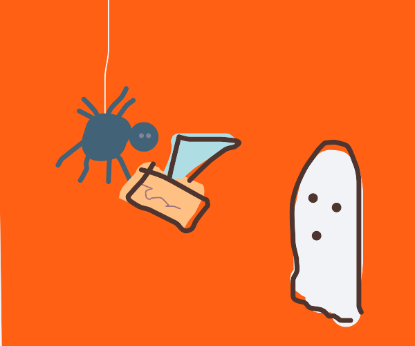 spider brings a kleenex box to a ghost