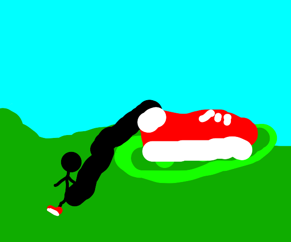 Stepping on a giant pea