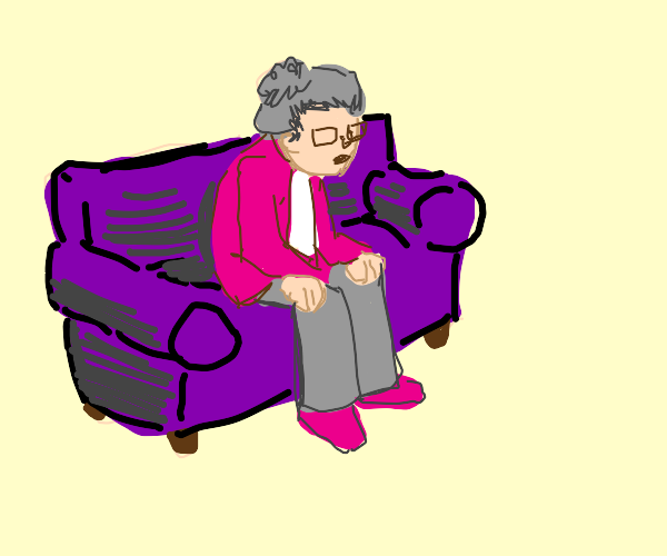Gray-haired woman on a purple sofa