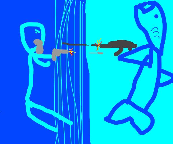 humanoid shark and bearded man in a gunfight