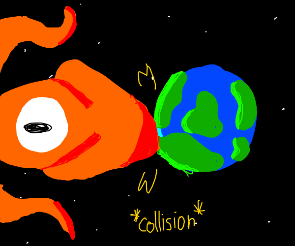 giant squid collides with earth