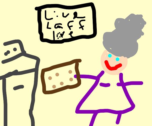 Granny baking cookies