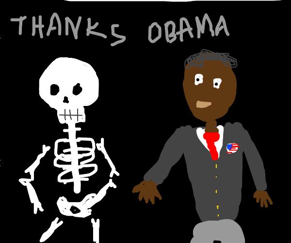 Barack Obama talking to a skeleton