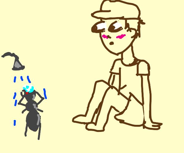 Kid watching ant shower