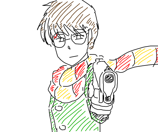 harry potter with a gun