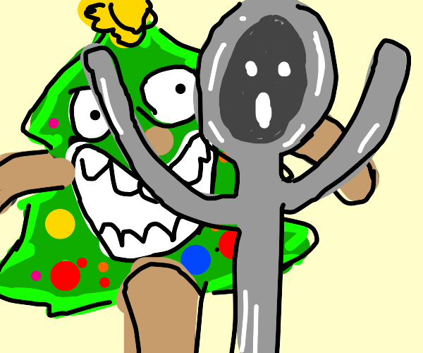 Christmas Tree chases spoon
