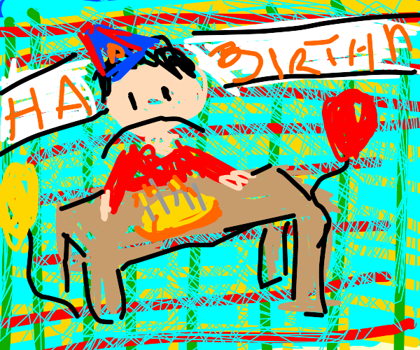 poor guy sitting alone at a birthday party :(