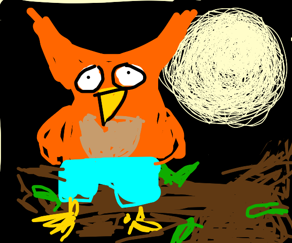 Owl wearing Pants