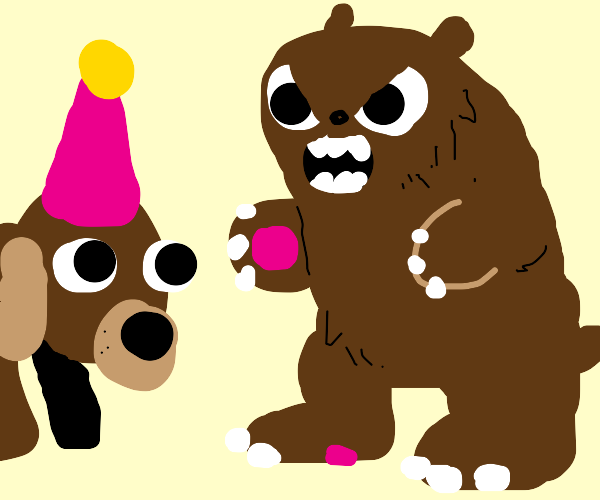A dog begin at a party with a bear next to it