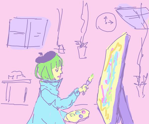 woman with green hair doing modern art