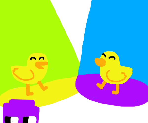 Colorful duck dance party.  Purple thing also