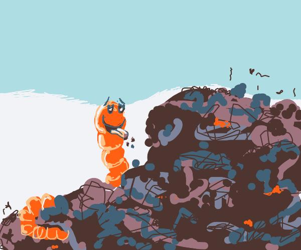 Worm eating rotten garbage