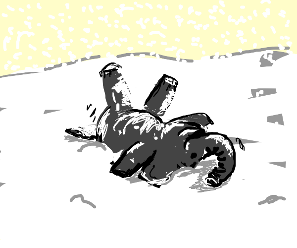 an elephant in the snow rolls a snowball