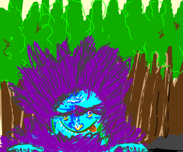 Purple hair monster w/ one eye in the forest