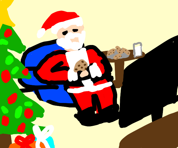 Santa with 2 cookies in living room