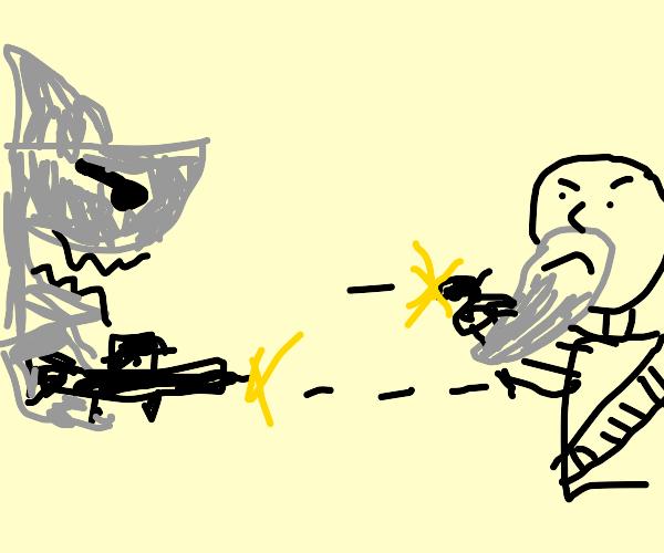 Shark's assault rifle vs Bearded man's pistol