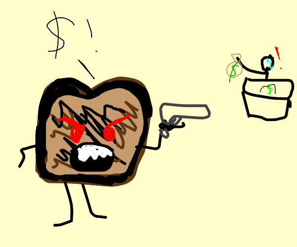 Burnt Toast robbing a man