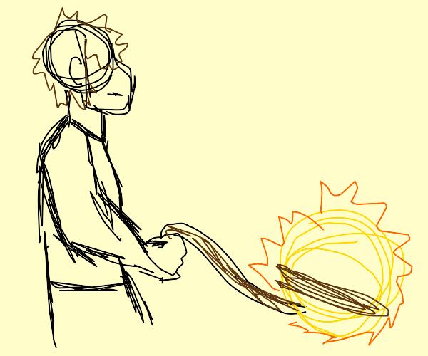 man has sun on leash
