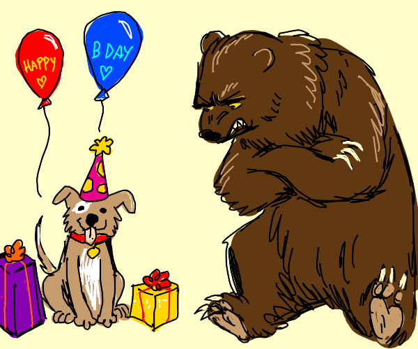 Grizzly bear angry at birthday dog