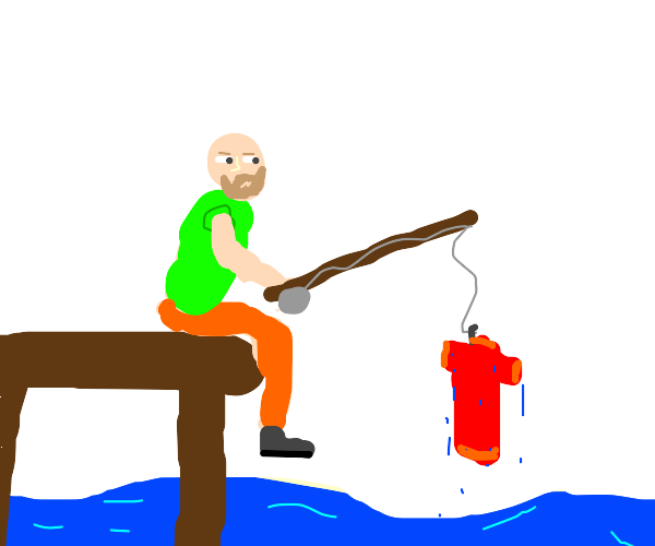 guy got a red shirt from fishing
