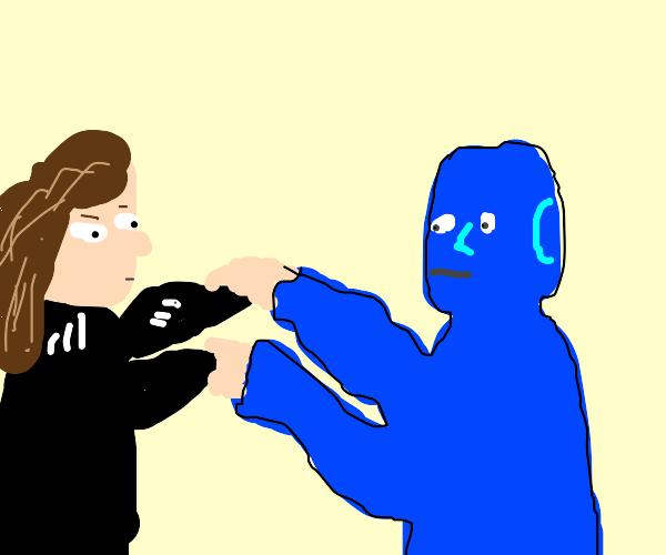 Chav girl fights blue guy