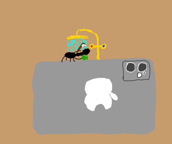 ant on apple takes a shower