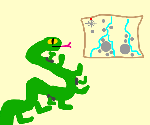 Snake with legs w/ map sees river w/ boulders