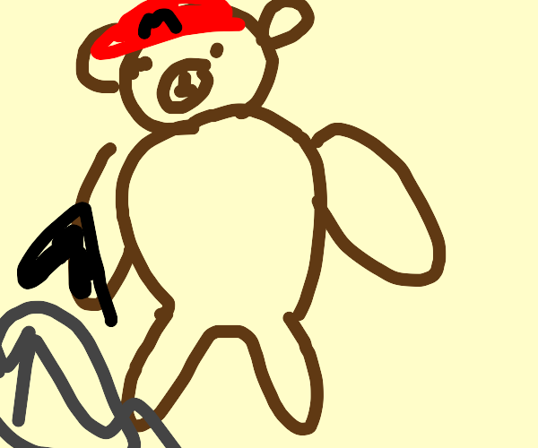 bear dressed as mario fights godzilla