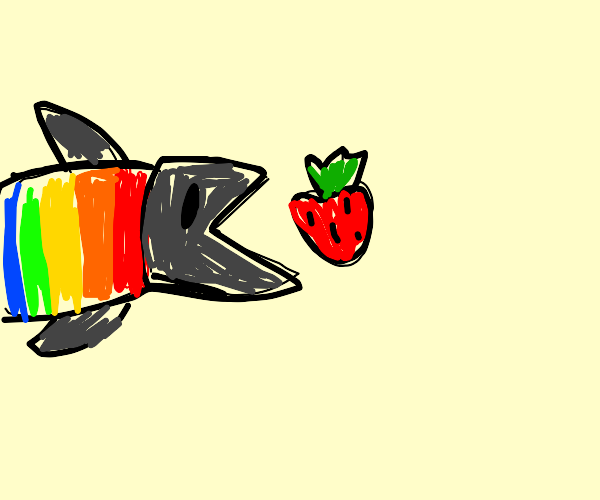 Rainbow Trout eating a Strawberry