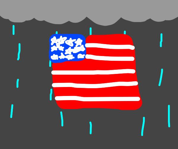USA Flag, rainy day