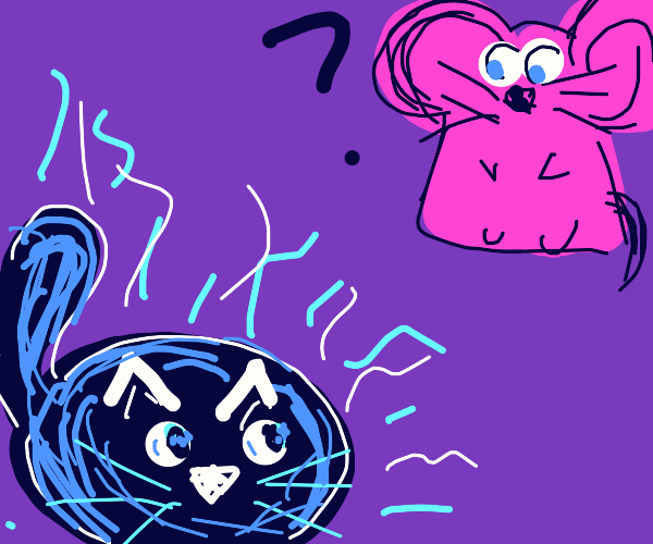 Sparkling blue cat looks at purple mouse