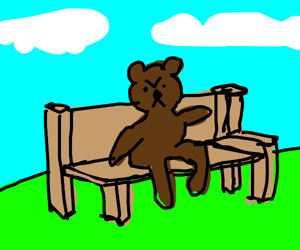 Angry Bear Sitting On A Bench