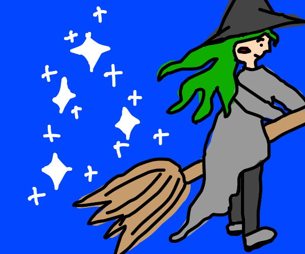 green haired witch on broom