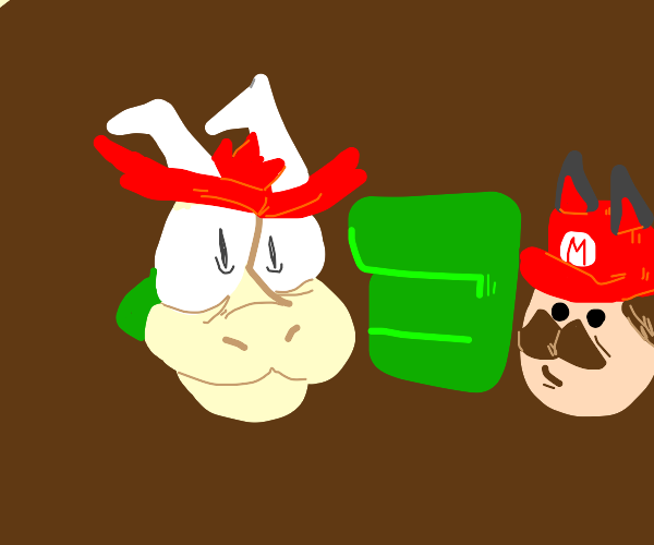 Bowser about to crush Cat Mario