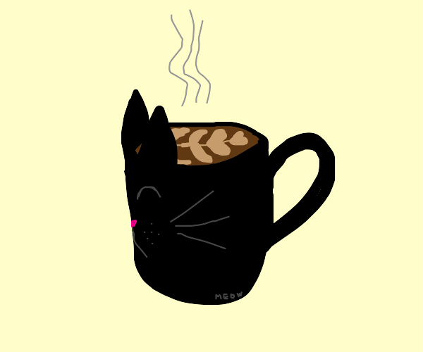 hot cup of coffee in a black kitty mug