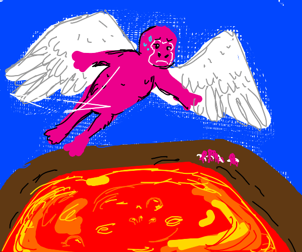 Pink gorilla flying over an active volcano.
