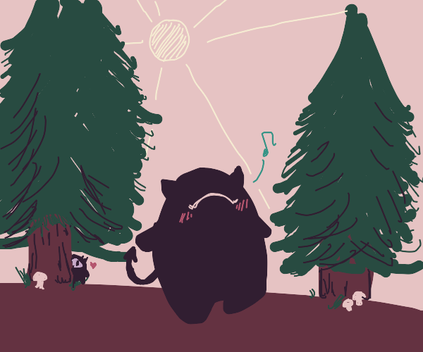 Cute devil whistling in the forest
