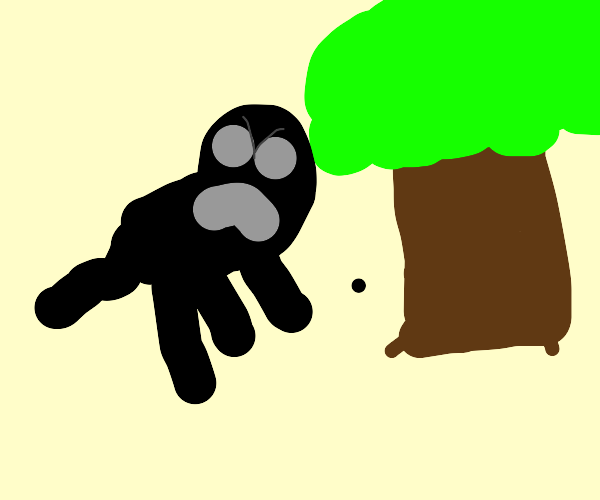Smoking, black ghost dog is angry at tree