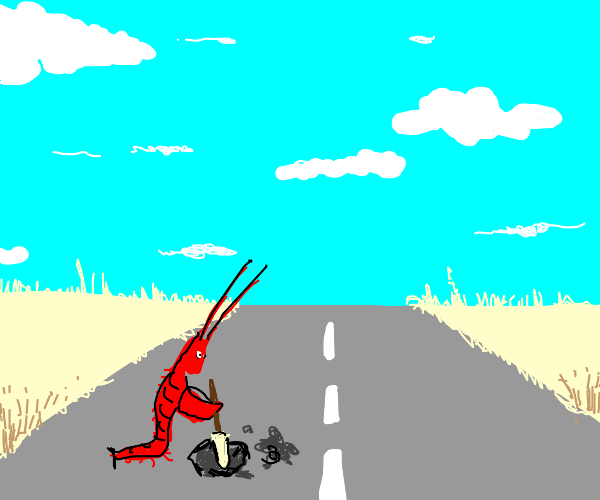 Lobster digging into the Road