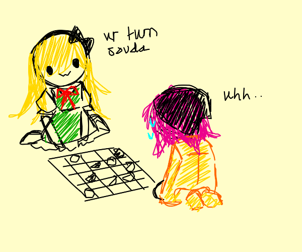 sonia and souda play a game of checkers