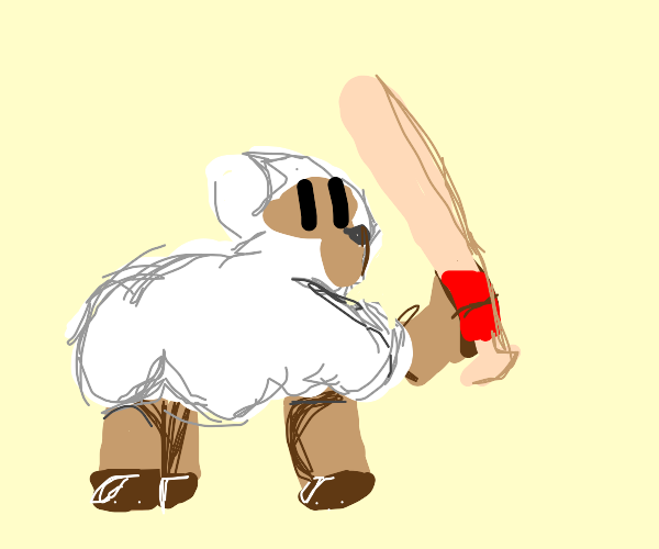 a sheep with a baseball ba5t