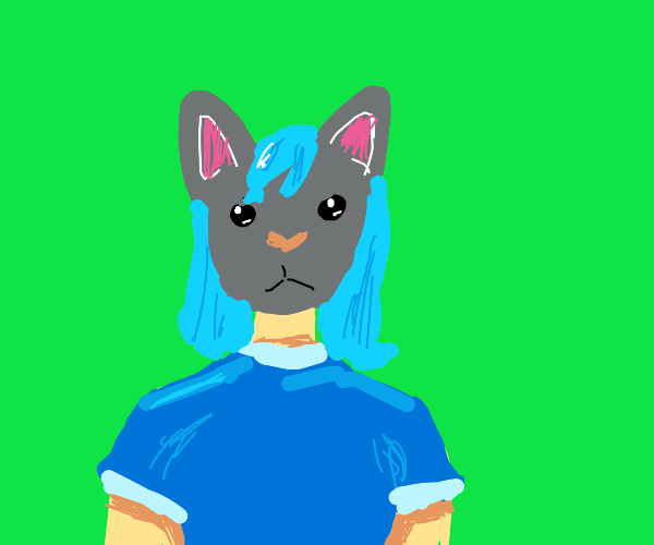 A woman with a cat's head and blue hair