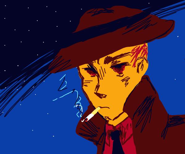 a detective, thinkin n smokin