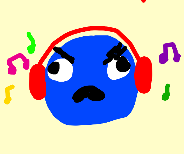 Derp listens to music with red headphones