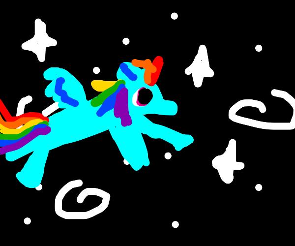 Rainbow Dash flying through space