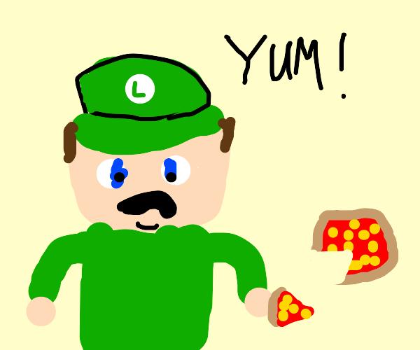 Luigi enjoys some pizza