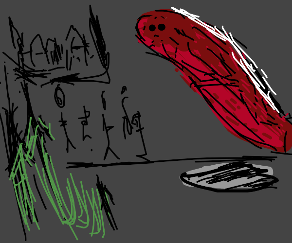 man is scared of long dark red worm