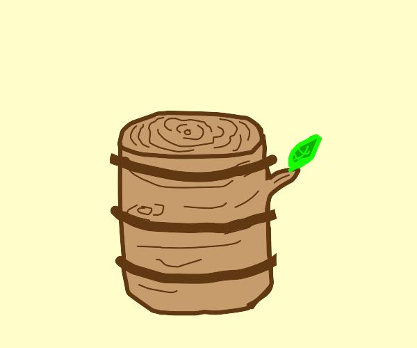 Tree stump shaped like keg of beer