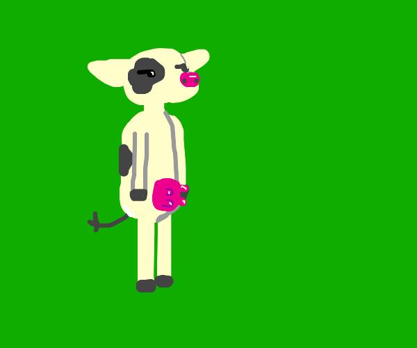 a cow standing like a human