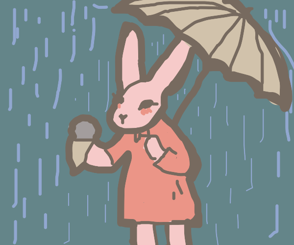 Rabbit with a umbrela and eating ice cream.